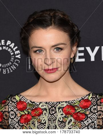 LOS ANGELES - MAR 19:  Caterina Scorsone arrives for the PaleyFest 2017-Grey's Anatomy on March 19, 2017 in Hollywood, CA