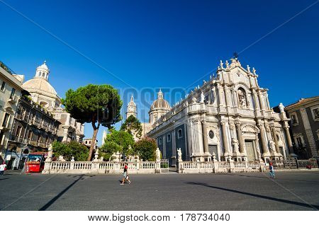 Piazza Duomo or Cathedral Square with Cathedral of Santa Agatha - Catania duomo in Catania Sicily Italy