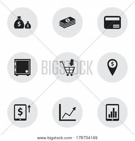 Set Of 9 Editable Banking Icons. Includes Symbols Such As Exchange Center, Shopping Pushcart, Treasure And More. Can Be Used For Web, Mobile, UI And Infographic Design.