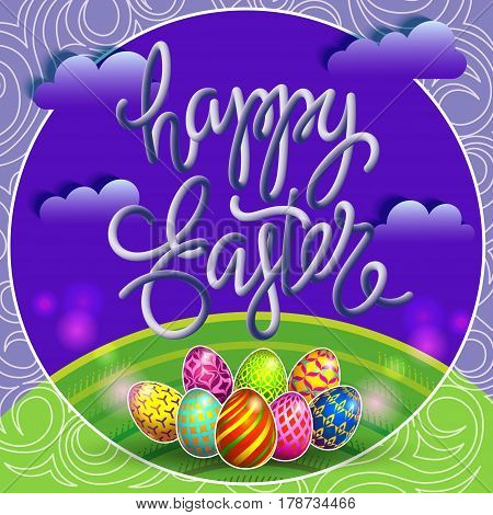 Multi colored easter eggs on a green lawn with the hand-drawn lettering Happy Easter