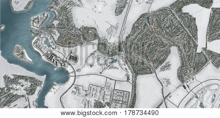 Land and property business from aerial view. Top view of residential land and property. House, land and property business and industry concept. Land in suburb area away from property of city center.