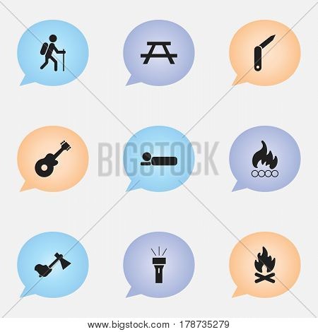 Set Of 9 Editable Camping Icons. Includes Symbols Such As Lantern, Blaze, Bedroll And More. Can Be Used For Web, Mobile, UI And Infographic Design.