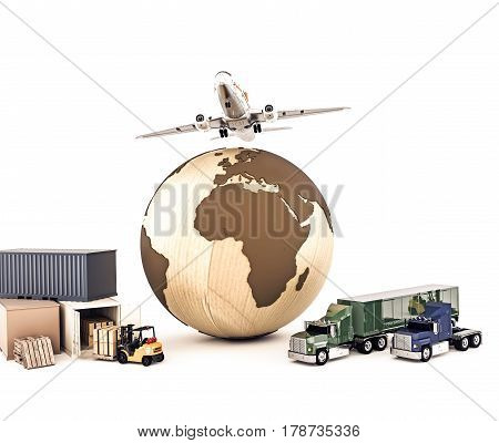 3d illustration of the world delivery system isolated on white background