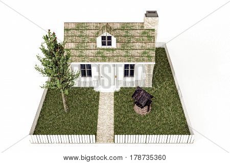 3d illustration of a country house isolated on white background