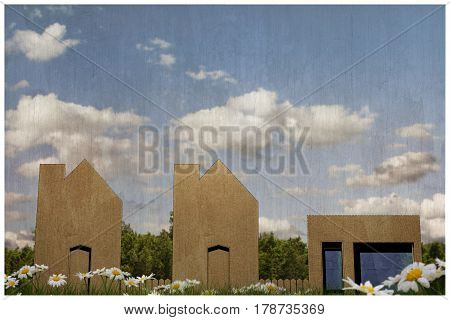 3d illustration of cardboard houses in the country