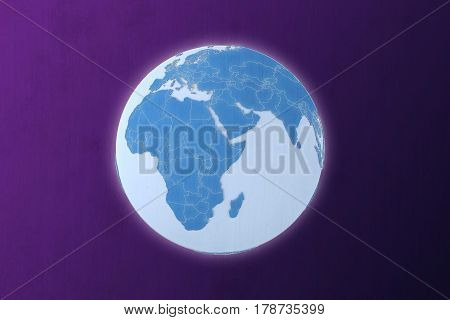 3d illustration of a 3d world geopolitically extruded