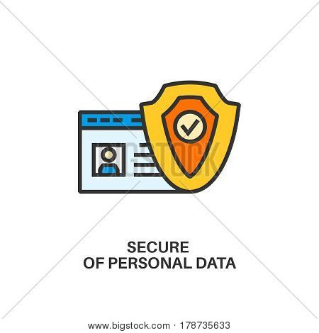 Protection of personal data. Internet security information protection outline linear icon