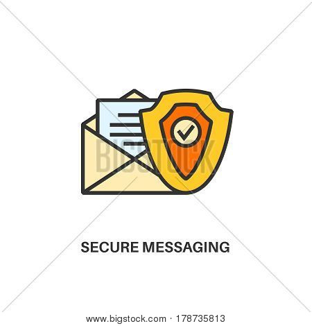 Secure messaging. Internet security information protection outline linear icon