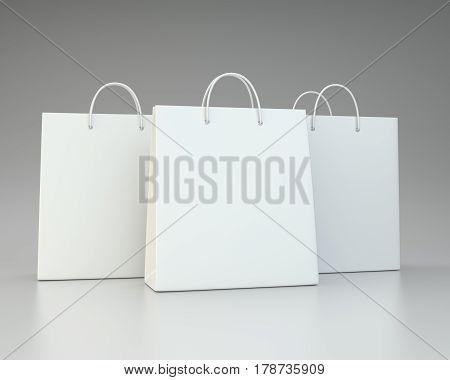 blank white shopping paper bags set. 3d rendering
