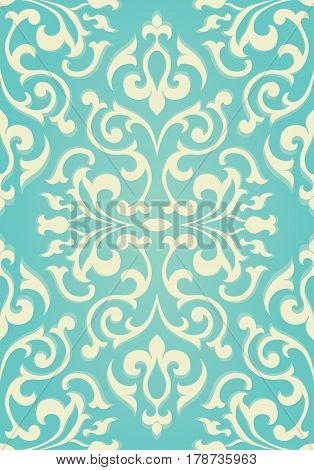 Oriental abstract ornament. Templates for carpet textile wallpaper. Seamless floral pattern on a turquoise background.