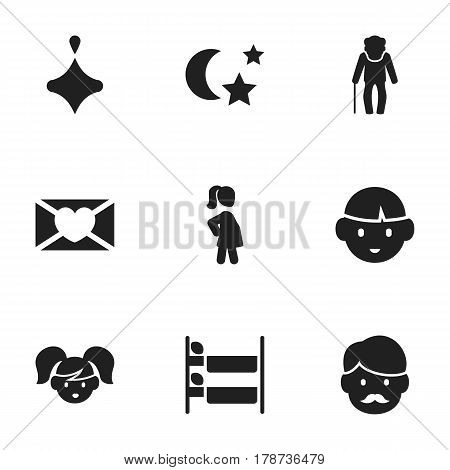 Set Of 9 Editable Kin Icons. Includes Symbols Such As Daughter , Grandpa , Father. Can Be Used For Web, Mobile, UI And Infographic Design.