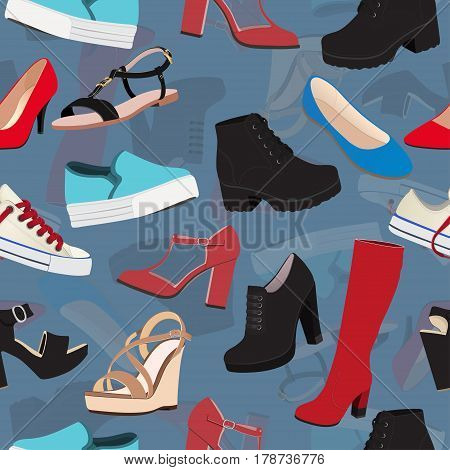 Shoes Vector Background, Seamless Pattern. Multicolored Sandals, Boots, Low Shoe, Ballet Slippers, H