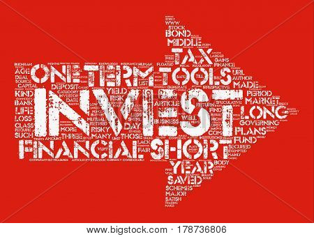 Investments Short Term or Long Term text background word cloud concept