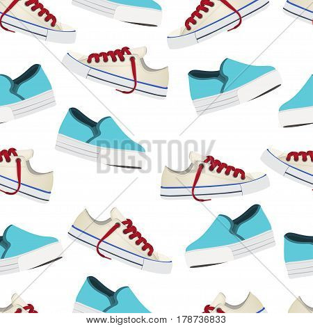 Shoes Vector Background, Seamless Pattern. Multicolored Slip-on And Gumshoes On A White Backdrop