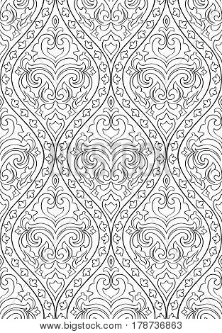 Black and white floral pattern. Seamless filigree ornament with arabesque. Stylized template for wallpaper textile shawl carpet and any surface.