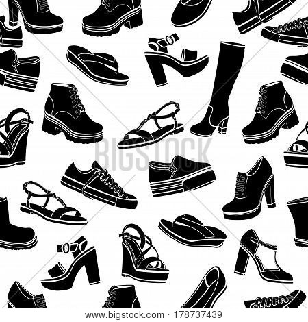 Shoes Vector Background, Seamless Pattern. Black Sandals, Boots, Low Shoe, Ballet Slippers, Gumshoes
