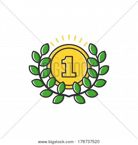 Vector business illustration of gold medal with leaves icon in flat line style. Graphic design concept of winner or champion on contest. Use in Web Project and Applications. Outline stock object