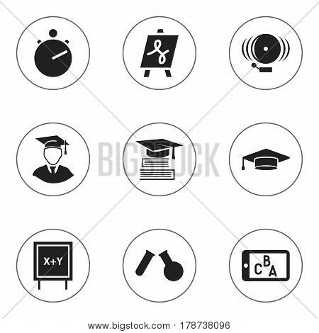 Set Of 9 Editable Graduation Icons. Includes Symbols Such As Phial, Ring, Tabulation And More. Can Be Used For Web, Mobile, UI And Infographic Design.