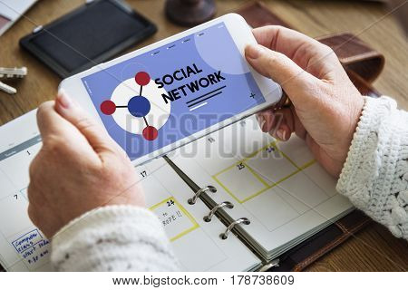 Mobile phone connected with social network online community