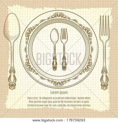 Table setting vintage poster design vector illustration. Notebook background with cutlery