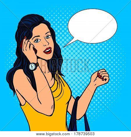 Girl talking phone pop art retro vector illustration. Comic book style imitation.