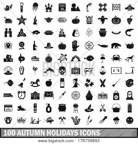 100 autumn holidays icons set in simple style for any design vector illustration