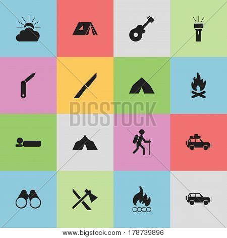 Set Of 16 Editable Camping Icons. Includes Symbols Such As Fever, Sunrise, Voyage Car And More. Can Be Used For Web, Mobile, UI And Infographic Design.