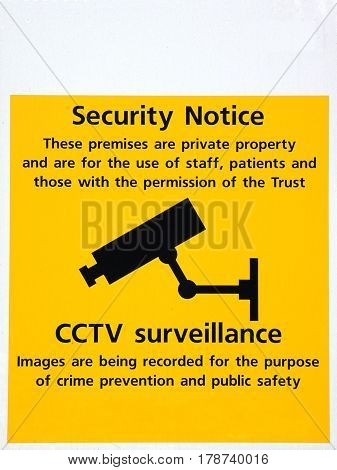 Closed circuit camera in operation security sign