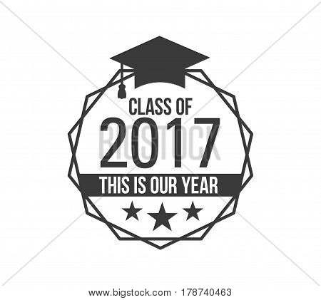 logo badge best class ever label for graduating senior class 2017, in black isolated white background, design for the graduation party for university or college students
