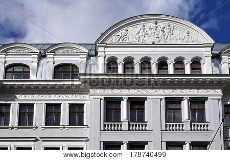 Riga, the former KGB building, architectural elements of the building, eclecticism, Art Nouveau, early 20th century.