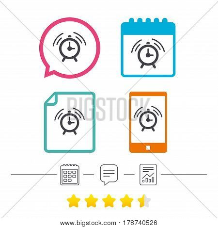 Alarm clock sign icon. Wake up alarm symbol. Calendar, chat speech bubble and report linear icons. Star vote ranking. Vector