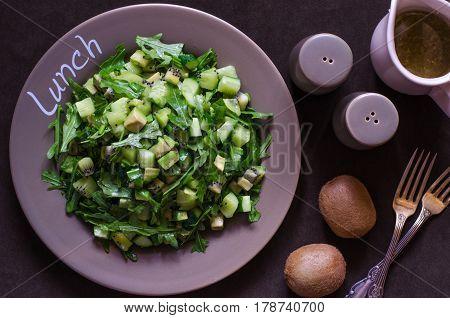 Cucumber Salad With Avocado Kiwi And Arugula