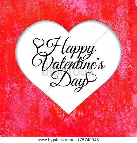 Happy Valentines Day card with red watercolor background. Vectorized watercolor drawing.