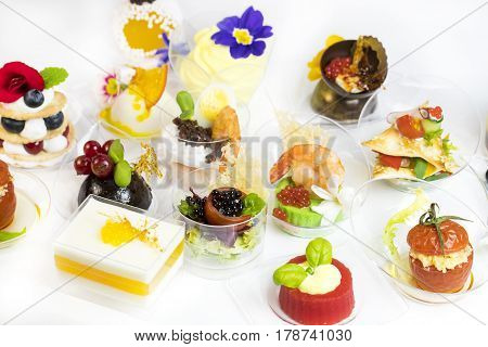 Mini canap with elements of molecular kitchen on white background