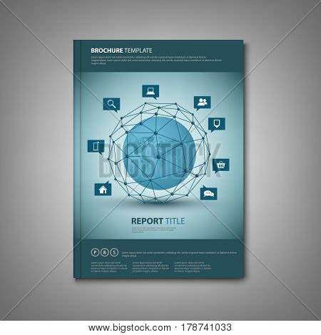 Brochures book or flyer with abstract network connection template vector eps 10