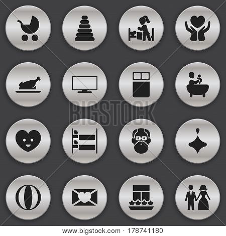 Set Of 16 Editable Family Icons. Includes Symbols Such As Perambulator, Spinner, Grandfather. Can Be Used For Web, Mobile, UI And Infographic Design.