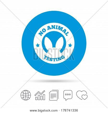 No animals testing sign icon. Not tested symbol. Copy files, chat speech bubble and chart web icons. Vector