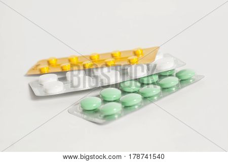 Tablets in blister packs studio picture .