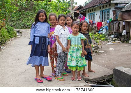 JAVA, INDONESIA - 28th december 2016: Local kids in a village on Java Indonesia