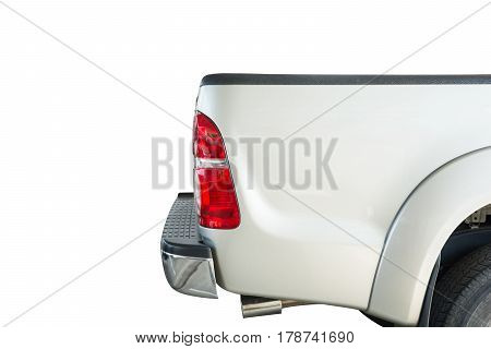back pickup car and light brake on white background