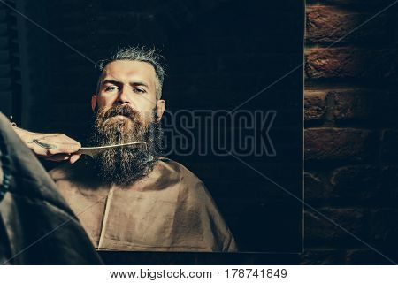 Bearded Unshaven Man Getting Long Beard Haircut By Hairdresser