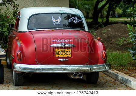 Cayo Coco, Cuba - August 26, 2005: A vintage 1950's American Plymouth car in Cayo Coco. It is believed that 60,000 US cars from pre-embargo age are still in use in Cuba.