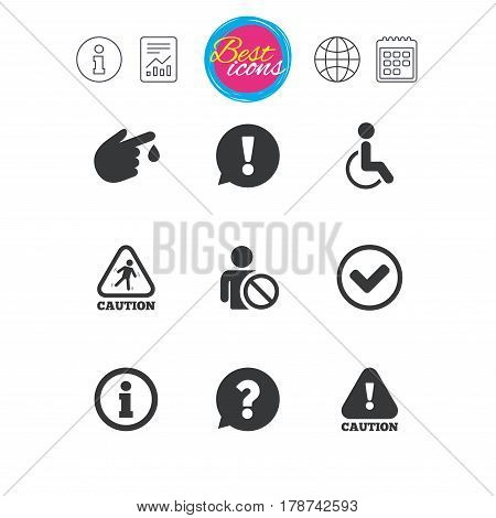 Information, report and calendar signs. Caution and attention icons. Question mark and information signs. Injury and disabled person symbols. Classic simple flat web icons. Vector