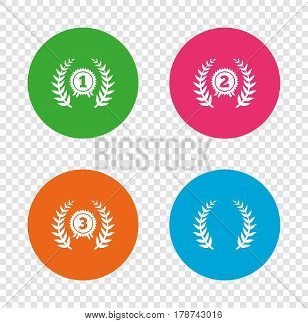 Laurel wreath award icons. Prize for winner signs. First, second and third place medals symbols. Round buttons on transparent background. Vector