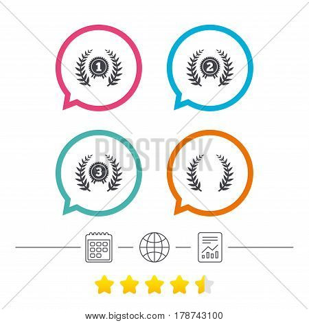 Laurel wreath award icons. Prize for winner signs. First, second and third place medals symbols. Calendar, internet globe and report linear icons. Star vote ranking. Vector