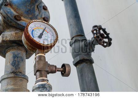 Manometer Pipes And Valve In Boiler Room. Pressure Gauge