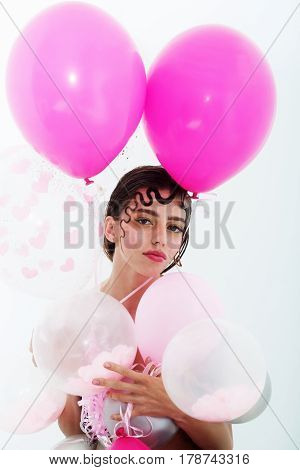 Pretty Girl With Party Balloons