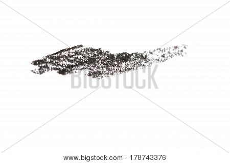 Black color cosmetic eye pencil strokes isolated on white background