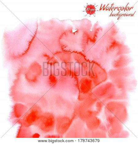Handpainted red watercolor background. Vector watercolor splash for your design