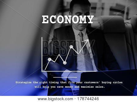 Business line graph upward arrow report